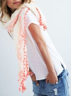 A white tee, tucked into your favourite denims, finished off with a statement scarf like our Spanish Dancer Scarf #myhush