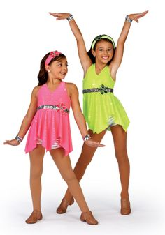 V1300 - Let Go - Stay on budget, in neon, with this sequin dot tunic over mesh leotard and silver hot pants with attacked flower. Comes in Glo Cerise and Glo Lime.