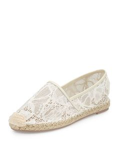 Butterfly Lace Flat Espadrille, White by Valentino at Bergdorf Goodman.