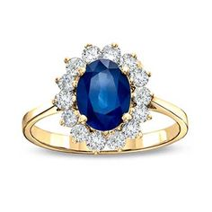 Precious+Bride™+Oval+Blue+Sapphire+and+1/3+CT.+T.W.+Diamond+Engagement+Ring+in+14K+Gold