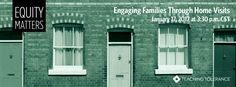 Free webinar sponsored by Teaching Tolerance: Equity Matters: Engaging Families Through Home Visits. Educators will discuss family engagement as one of many keys to student success. Find out how to implement home visits as a way to effectively and positively interact with students, families and communities. You will see examples of fruitful family interactions, hear from experts on family engagement and explore approaches and resources for this best practice. Tuesday, 1/17/17, 3:30 - 4:3pm…