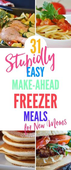 31 easy freezer meals for new moms! Whether you're a new mom or a mom with toddlers, freezer crockpot meals are a lifesaver eh? Check out these 31 freezer meals that you can make ahead in one afternoon Chicken Freezer Meals, Make Ahead Freezer Meals, Freezer Cooking, Easy Meals, Kid Meals, Toddler Meals, Inexpensive Meals, Family Meals, Frugal Meals