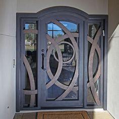 Custom Iron Entry Door with Sidelights Main Entrance Door Design, Front Gate Design, Door Gate Design, Entrance Doors, Exterior Doors With Sidelights, Modern Entry Door, Iron Front Door, Wrought Iron Doors, Steel Doors