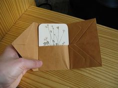 Folded Cover/Card Holder/Wallet. This has many uses (card holder, pamphlet cover) and opens up to have 4 pockets. Design: Hedi Kyle