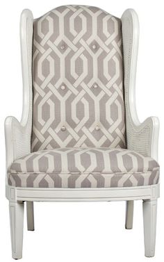 LOVE The White And Grey Reupholstering On This Cane Wing Chair