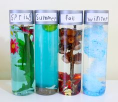 A finished set of sensory bottles, labelled with Spring, Summer, Fall and Winter.