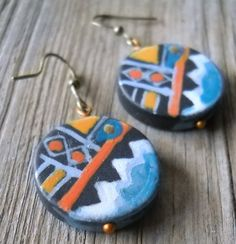 Hand Painted Black Agate Dangle Earrings by PavlosHandmadeStudio