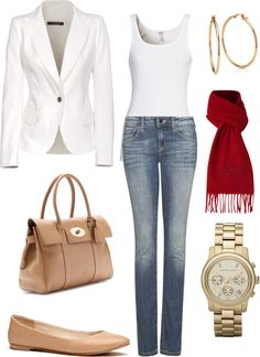"""White blazer"" by julianawagner on Polyvore"