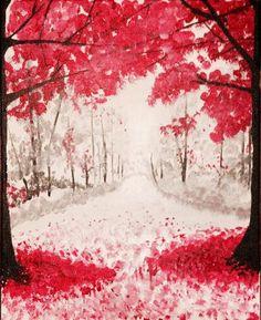 Crimson Trees - http://www.paintnite.com - #PaintNite #Nature #Art #Create #Pink #Trees #Painting