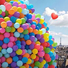 full color balloons in sky