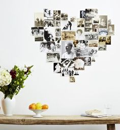 Perfect cheap and easy idea for displaying pictures of your loved ones! You could stick the photos right to the wall with a re-positionable adhesive, so you can change it up as you like.