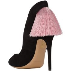 Izo Pump Black with Pink Fringe ($370) ❤ liked on Polyvore featuring shoes, pumps, pink pumps, black pumps, high heel court shoes, black shoes and pink shoes