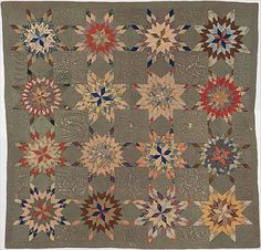 "Quilt, Star of Bethlehem pattern variation Ellen Morton Littlejohn Maker:Margaret Morton Bibb (ca. Russelville, (""The Knob""), Kentucky,. Old Quilts, Antique Quilts, Vintage Quilts, Primitive Quilts, Lone Star Quilt, Star Quilts, Vintage Star, Civil War Quilts, Star Of Bethlehem"