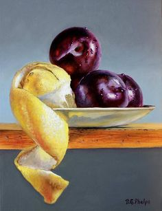 Plums peeled lemon still life oil painting original fruit art work for sale, 12x9 oils on panel, unique one of a kind realism artwork by Delmus Phelps $420