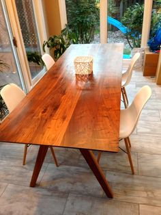 8 Foot Solid Walnut Dining Table, Seats 6.