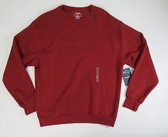 Roundtree & Yorke Sport Mens Red Crew Neck ProLuxe Fleece Sweater Sz Large