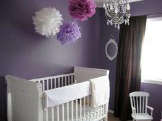 gray purple nursery - would love a gray purple tree decal behind that crib!