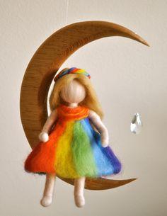 Móvil de niños Waldorf inspirado aguja de fieltro: por MagicWool