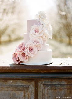 ombré *   {Romantic Pink Wedding Cake by Cupcakes Couture of Manhattan Beach}