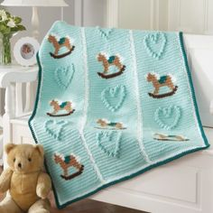 ♥ⓛⓞⓥⓔ♥ Crochet-Rocking Ponies and Hearts Blanket by Mary Maxim. I love this soft color blue.....
