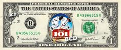 101 DALMATIANS MOVIE on REAL Dollar Bill Cash Money Bank Note Currency Celebrity