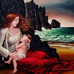 The Lap Ocean Mother Goddess and Child Original by EmilyBalivet, $2500.00