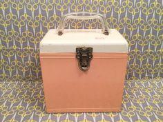 """White Pink Salmon Clear Vinyl Platter Pak Record storage box 7"""" 45RPM case tote Metal"""