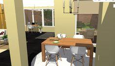 Opción 3, vista desde puerta de cocina hacia comedor y salón.