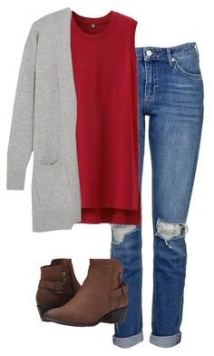 #fall #outfits / Grey Cardigan + Red Sleeveless Top