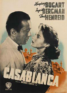 A poster for Michael Curtiz's 1942 drama 'Casablanca' starring Humphrey Bogart and Ingrid Bergman. Get premium, high resolution news photos at Getty Images Ingrid Bergman, Humphrey Bogart, 1940s Movies, Old Movies, Vintage Movies, Classic Movie Posters, Movie Poster Art, Film Posters, Retro Posters