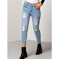 Blue Slim Ripped Denim Pants ($16) ❤ liked on Polyvore featuring pants, blue, slim-fit trousers, slim pants, distressed pants, denim pants and blue trousers