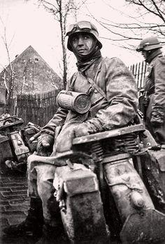 """ostfeldzug: """"German motorcyclist Eastern front, date unknown """""""