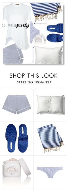 """Slumber Stripes...."" by desert-belle ❤ liked on Polyvore featuring Eberjey, Thomaspaul, kumi kookoon, Turkish-T, Fresh, J.Crew, Coperni Femme, slumberparty and polyvoreeditorial"