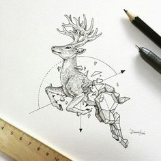 #geometric #tattoo #deer