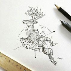 #geometric #tattoo #deer
