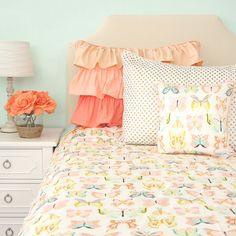 Caden Lane Baby Bedding - Buttercup Coral and Mint Butterfly Duvet Cover, $149.00 (http://cadenlane.com/buttercup-coral-and-mint-butterfly-duvet-cover/)