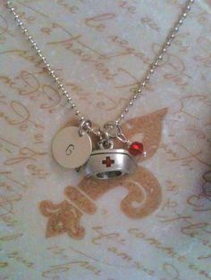 Nurses Hat Hand Stamped Initial Charm Necklace by DuneyBugDesigns, $24.00  so cute!