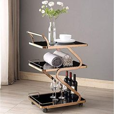 trolley- Fashion Hotel Wine Service cart, Tempered Glass Stainless Steel Dining car, Household Bathroom Kitchen Storage Rack Art Deco Furniture, Metal Furniture, Furniture Design, Kitchen Drawer Organization, Kitchen Storage, Home Decor Bedroom, Home Decor Kitchen, Silver Wall Clock, Stainless Steel Coffee Table