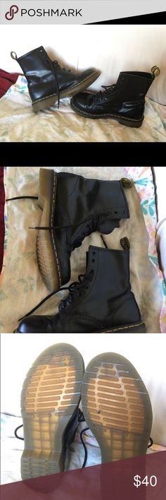 Doc Martens 8Eye Black Patent Leather Boots Size 7 Hardly worn. Dr. Martens Shoes Combat & Moto Boots