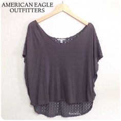"""AEO crochet back top PRELOVED in excellent condition, worn once. no flaws or imperfections. v-neck, crochet back, high low round box style top.  size- medium length- 21.5 in front / 24.5 in back  width- 21 in laying flat (not including """"arm wing"""")  due to lighting- color of actual item may vary from photos.  please don't hesitate to ask questions, happy POSHing.   use offer feature to negotiate price on single item i do not accept, nor do i respond to """"lowest, trade, or paypal?"""" American…"""