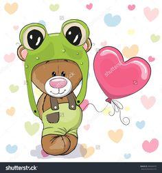 Cute Cartoon Teddy Bear In A Frog Hat With Balloon Стоковая векторная…