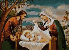 Nacimiento de Jesus en punto de cruz.