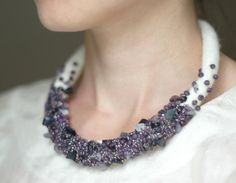 felted neckpiece but I like the idea of doing the spiral with crystal white and adding the purple.