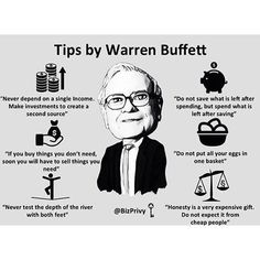 Loving these tips from Warren Buffett!  Double tap if you agree and tag a friend that needs to see this!