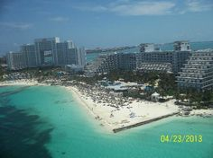 Riu Caribe: View of hotel and beach---- with new Riu Pennisula next door