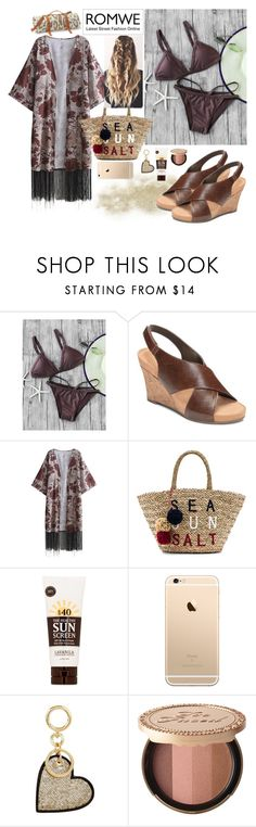 """""""Coffee Strap Triangle Bikini Set"""" by basicstarks ❤ liked on Polyvore featuring A2 by Aerosoles, Sundry, Lavanila, Burberry, Too Faced Cosmetics and Maslin & Co."""