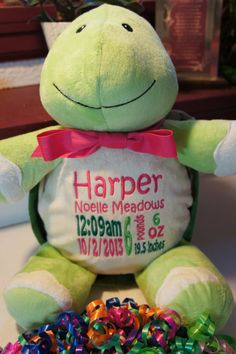 Personalized baby gift baby cubbies sundrop the lion birth personalized baby gift baby cubby mr shigglesworth the turtle a plush stuffed animal keepsake with machine embroidered birth information negle Choice Image