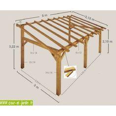 Charpente en kit. Cet auvent bois SHERWOOD 5mx3 est un carport bois adossé ou abri terrasse bois