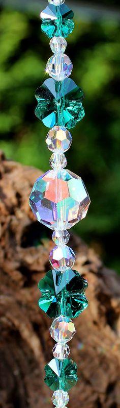 Emerald Clover Crystal Green Suncatcher by JanetHarperDesigns, $56.00