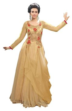 Indian Women's Designer Traditional Semi-Stitched Embroidered Party Wear Gown